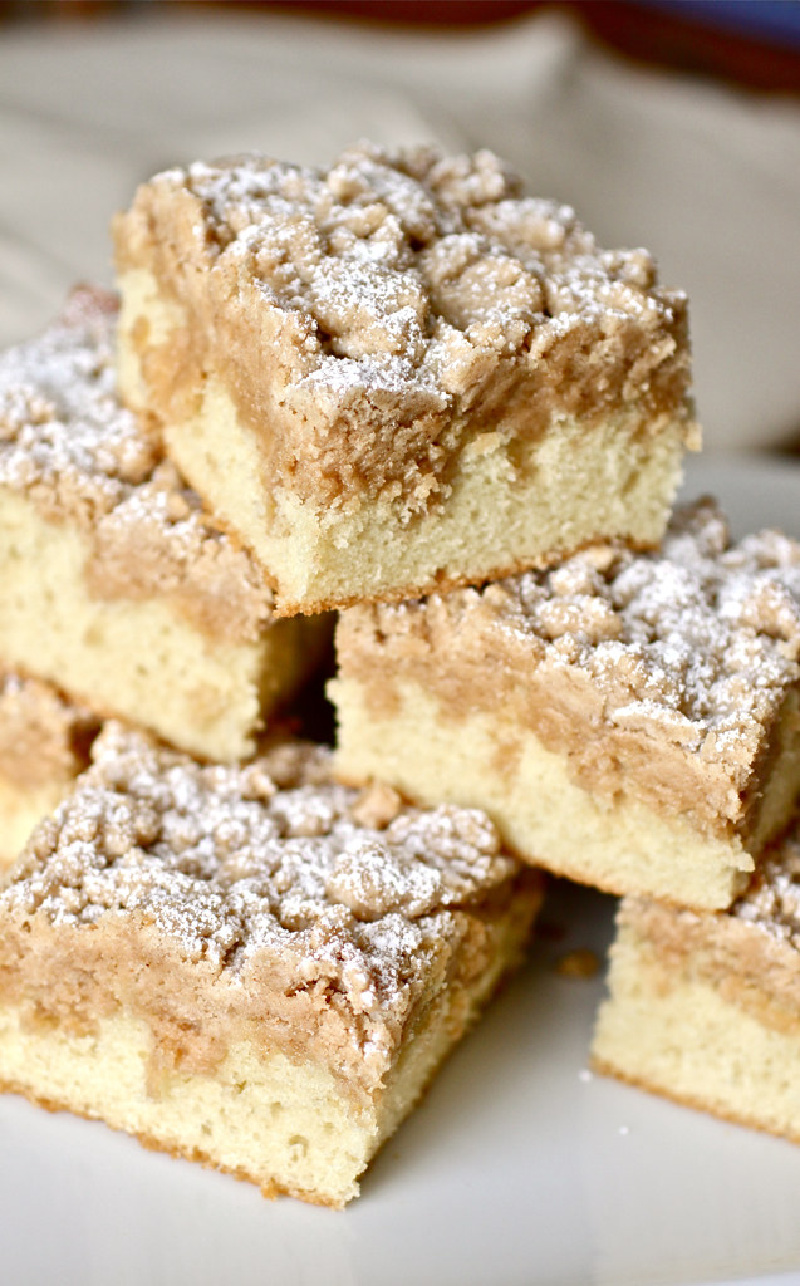 new york style crumb coffee cake slices stacked