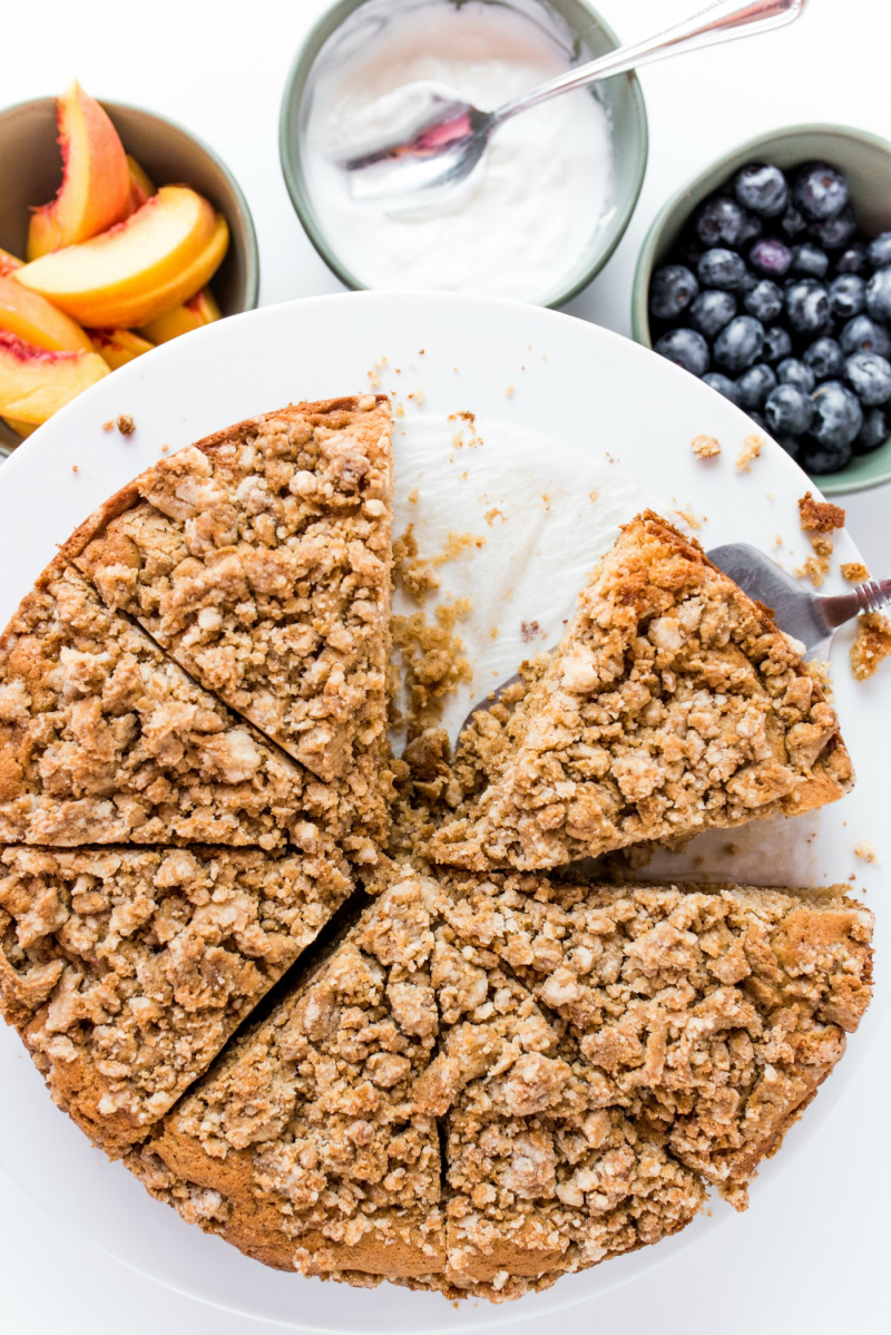 pear coffee cake cut into pieces