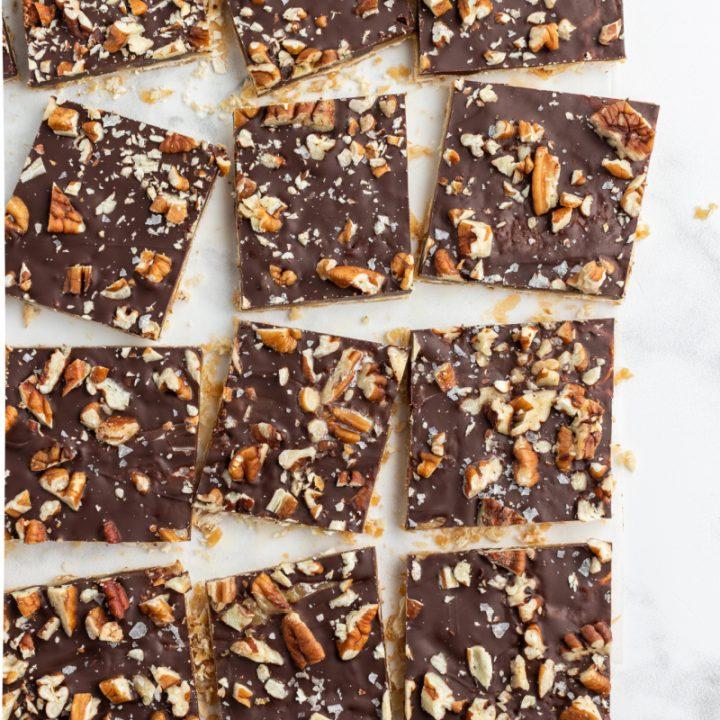 pecan praline chocolate matzoh pieces