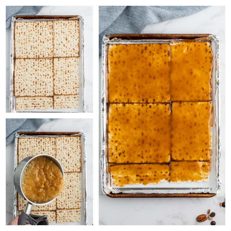 three photos showing matzoh then adding toffee then showing covered in toffee