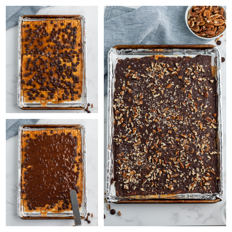 showing process of adding chocolate to matzoh and spreading it and adding nuts