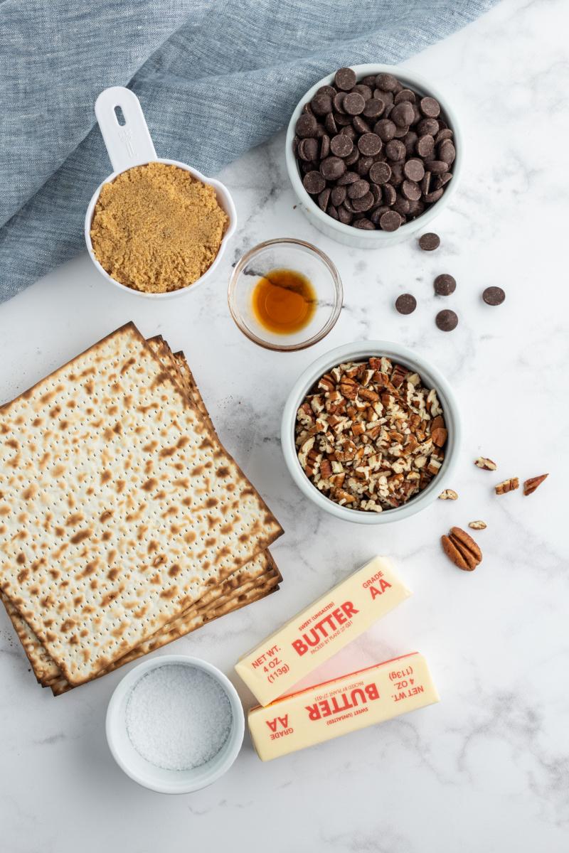 ingredients displayed for pecan praline chocolate matzoh