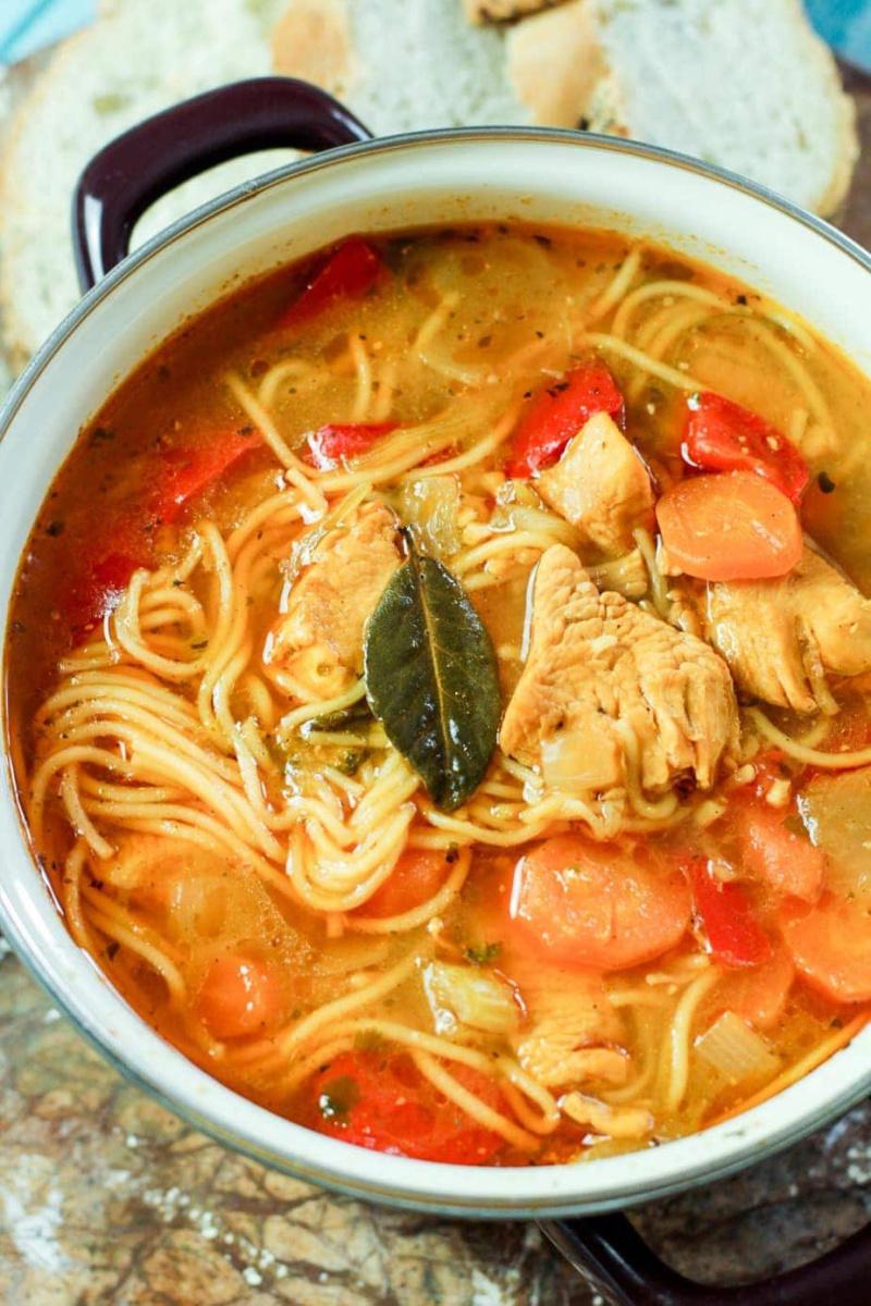 Puerto Rican Chicken Noodle Soup