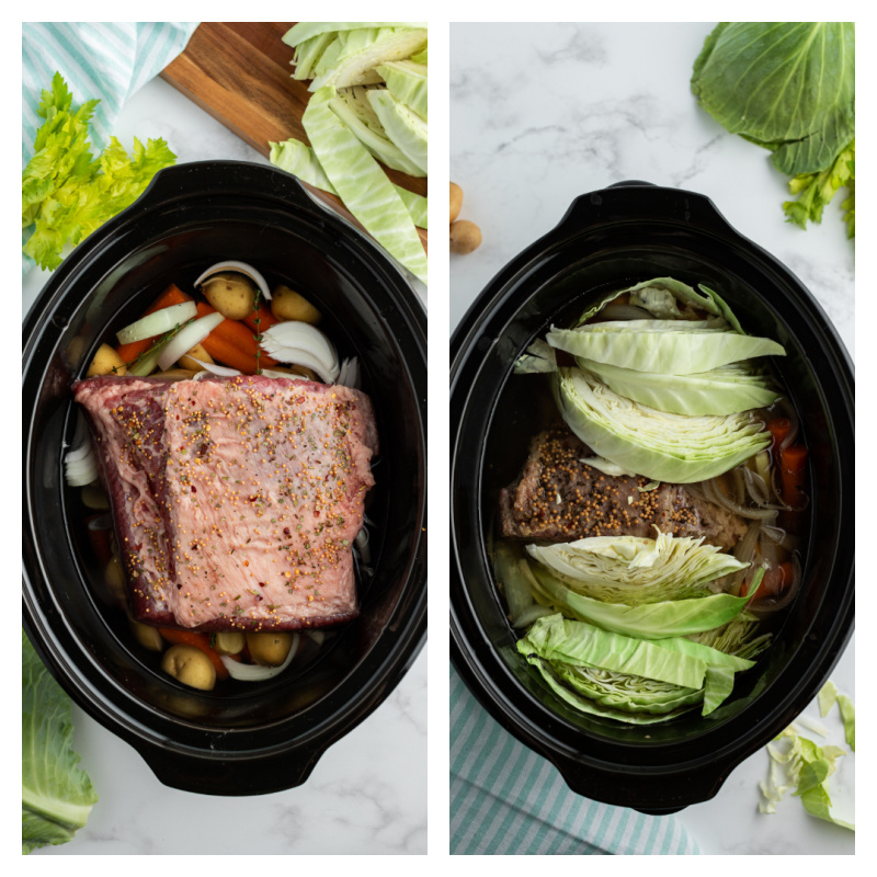 slow cooker corned beef and cabbage before cooking