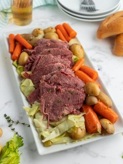 corned beef and cabbage displayed on a platter