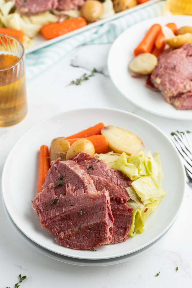 serving of corned beef and cabbage on a white plate