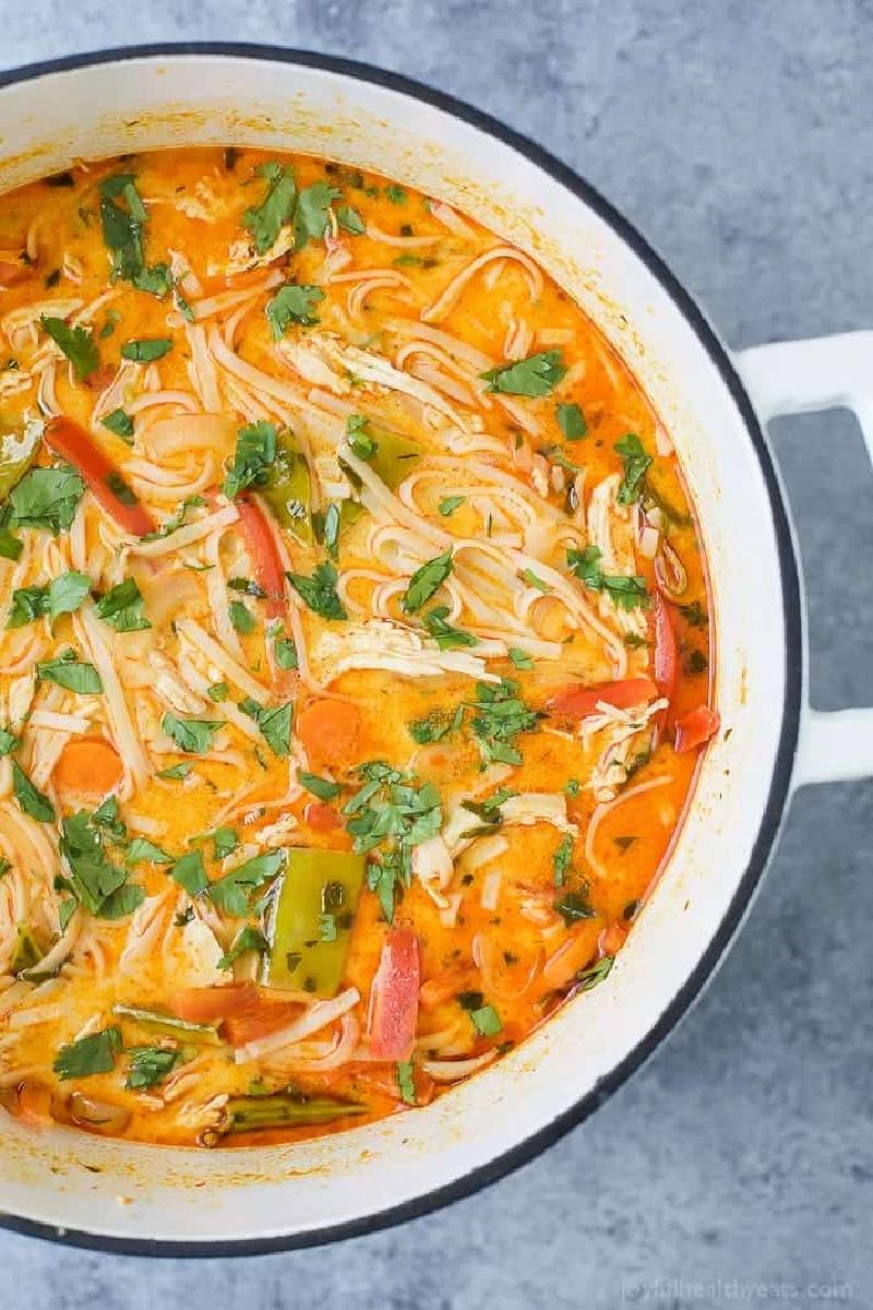 pot of thai chicken noodle soup