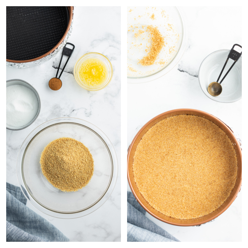 two photos showing ingredients for crust and then baked crust