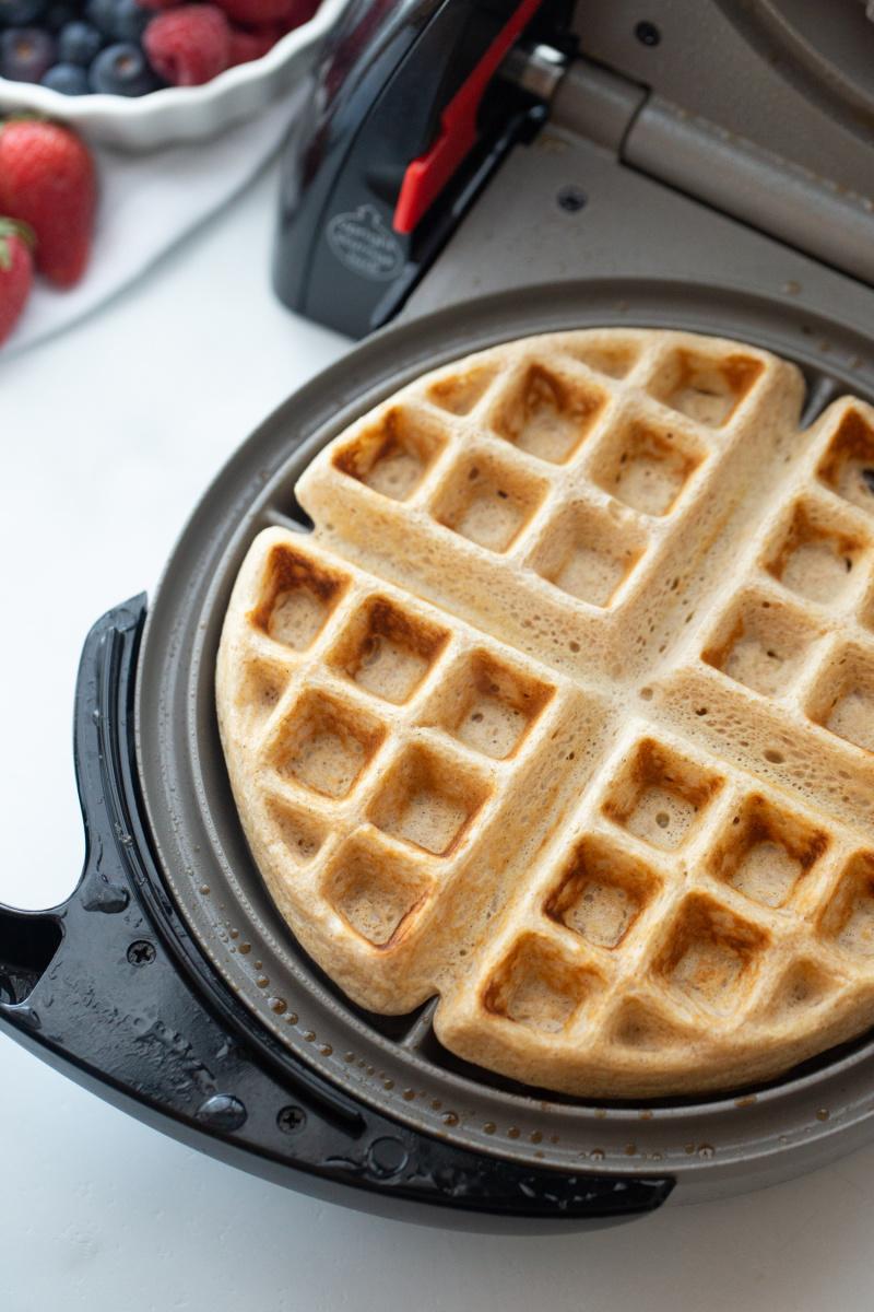 whole grain buttermilk waffle in waffle iron