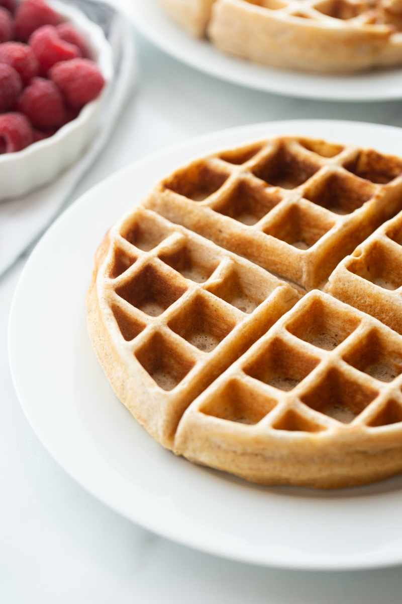 whole grain buttermilk waffle on white plate