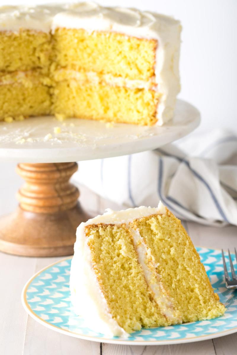 lemon cake with cake slice on plate