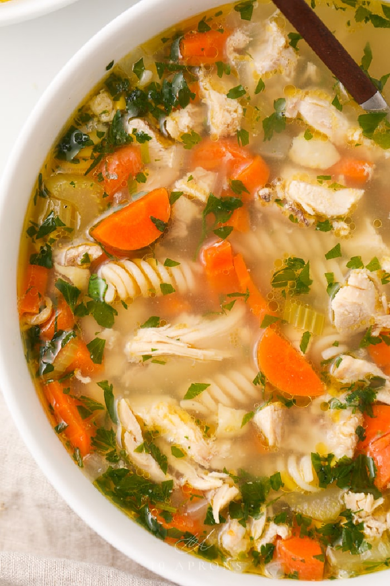 bowl of easy homemade gluten free chicken noodle soup