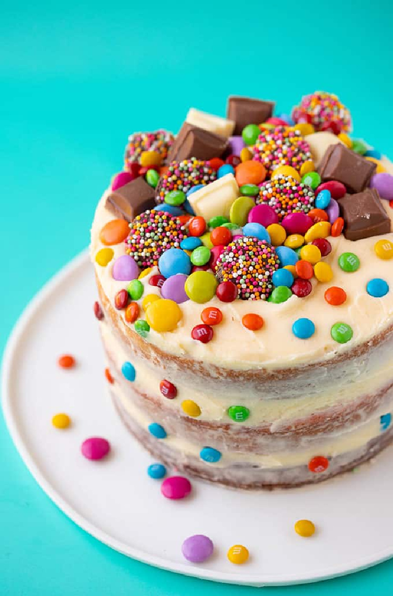 layer cake with candy on it