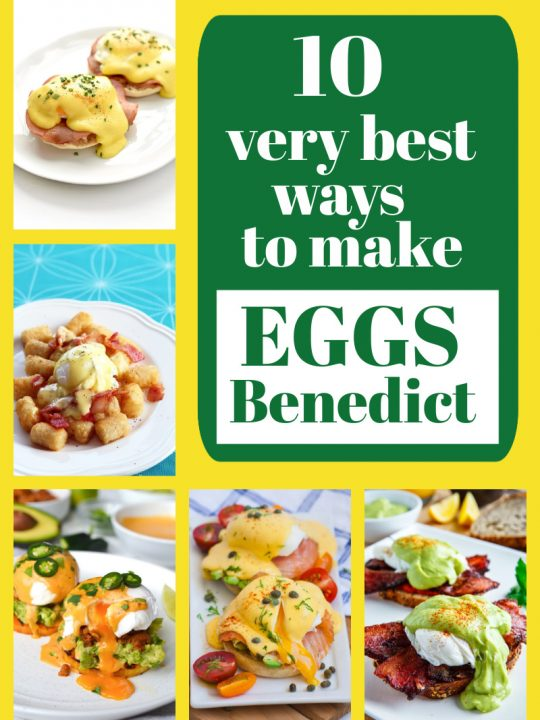pinterest collage image for eggs benedict