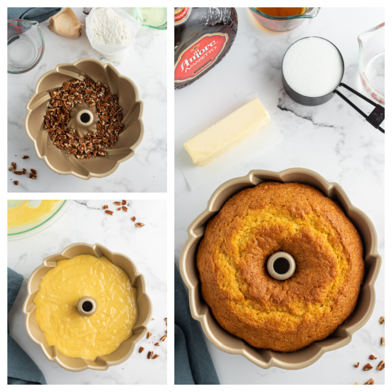 3 photos showing process of making bundt cake, pecans in pan, batter and then baked cake