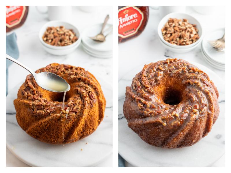spooning glaze on amaretto bundt cake