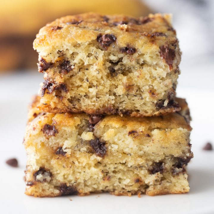 banana chocolate chip cake two slices stacked
