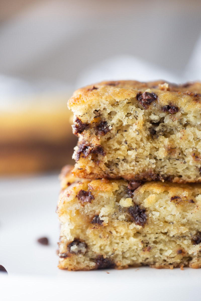 two pieces of banana chocolate chip snack cake stacked
