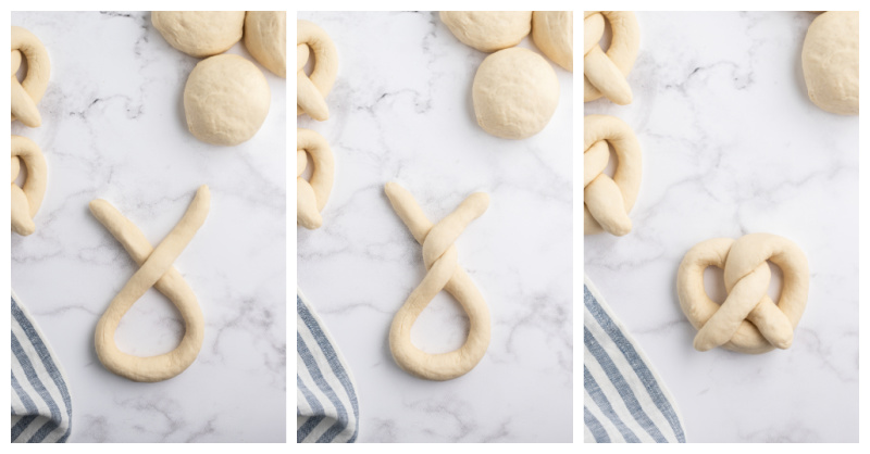 three photos showing process of how to shape a soft pretzel from dough