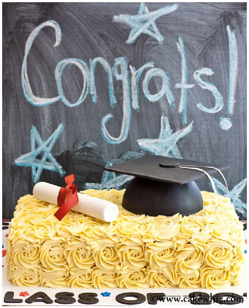 Graduation Hat Cake with congrats written on chalkboard