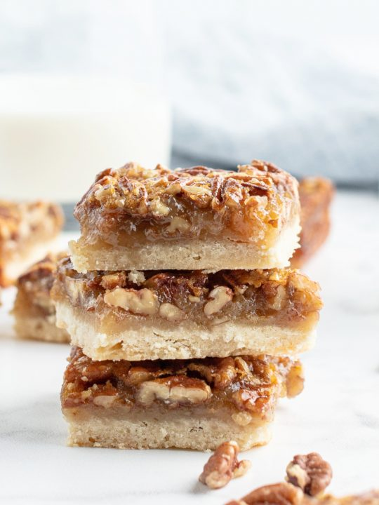 stack of three pecan pie bars
