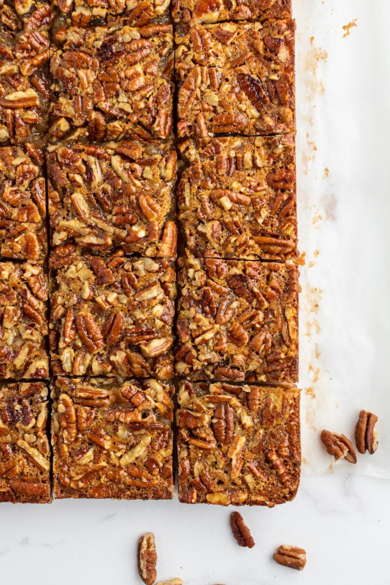 pecan pie bars cut into pieces