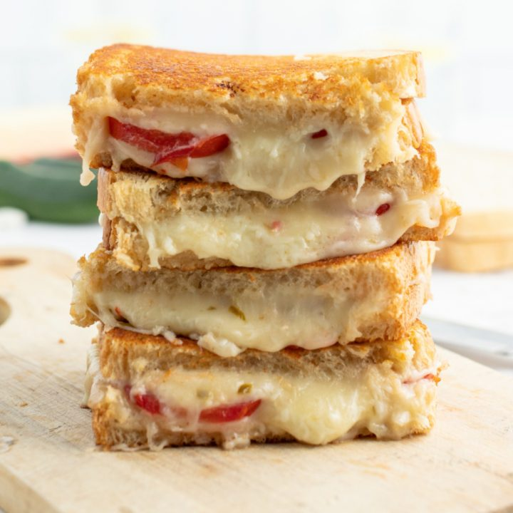 stacked slices of spicy tomato grilled cheese