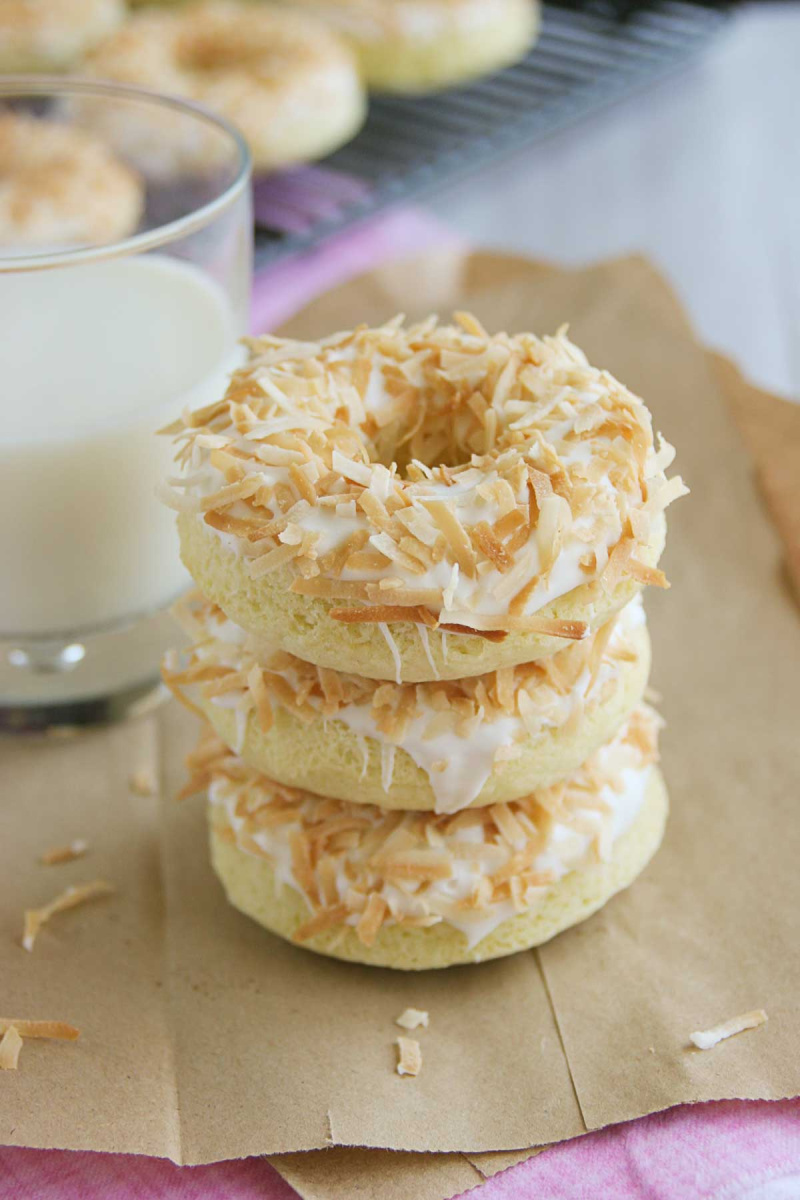 stack of baked coconut doughnuts