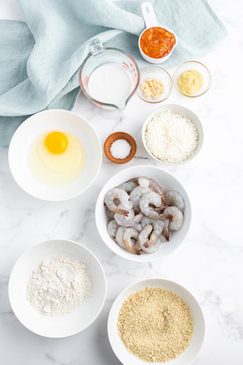 ingredients displayed for coconut shrimp
