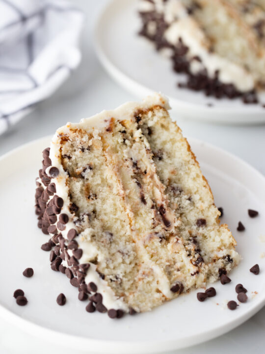 slice of chocolate chip cheesecake cake on a white plate