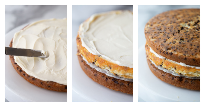 3 photos showing process of assembling cheesecake cake- cake layer with frosting, cheesecake and frosting and then another cake layer