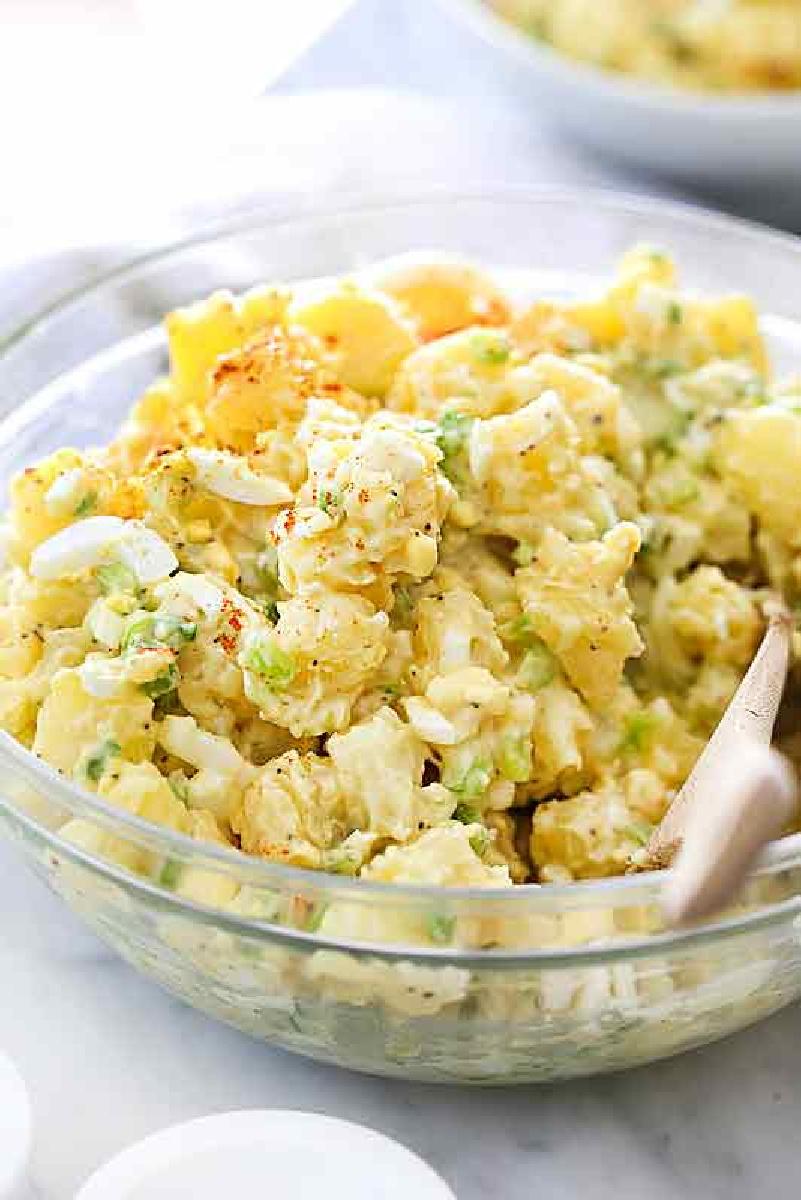 classic potato salad in glass bowl