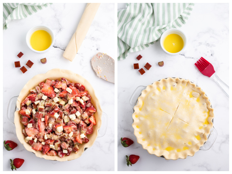 two photos showing process of making strawberry rhubarb pie one with filling and one with pie crust on top