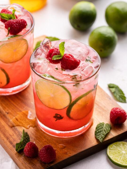 honey raspberry mojitos