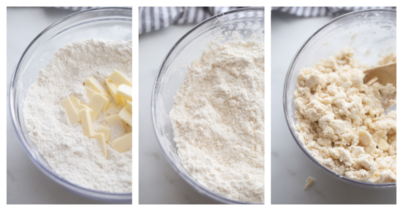 butter cut into flour and then biscuit dough in bowl