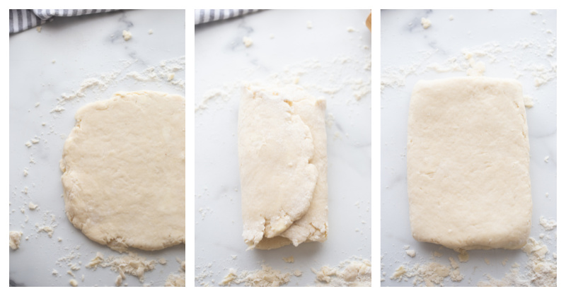 rolled out biscuit dough then folded dough, then rolled out again