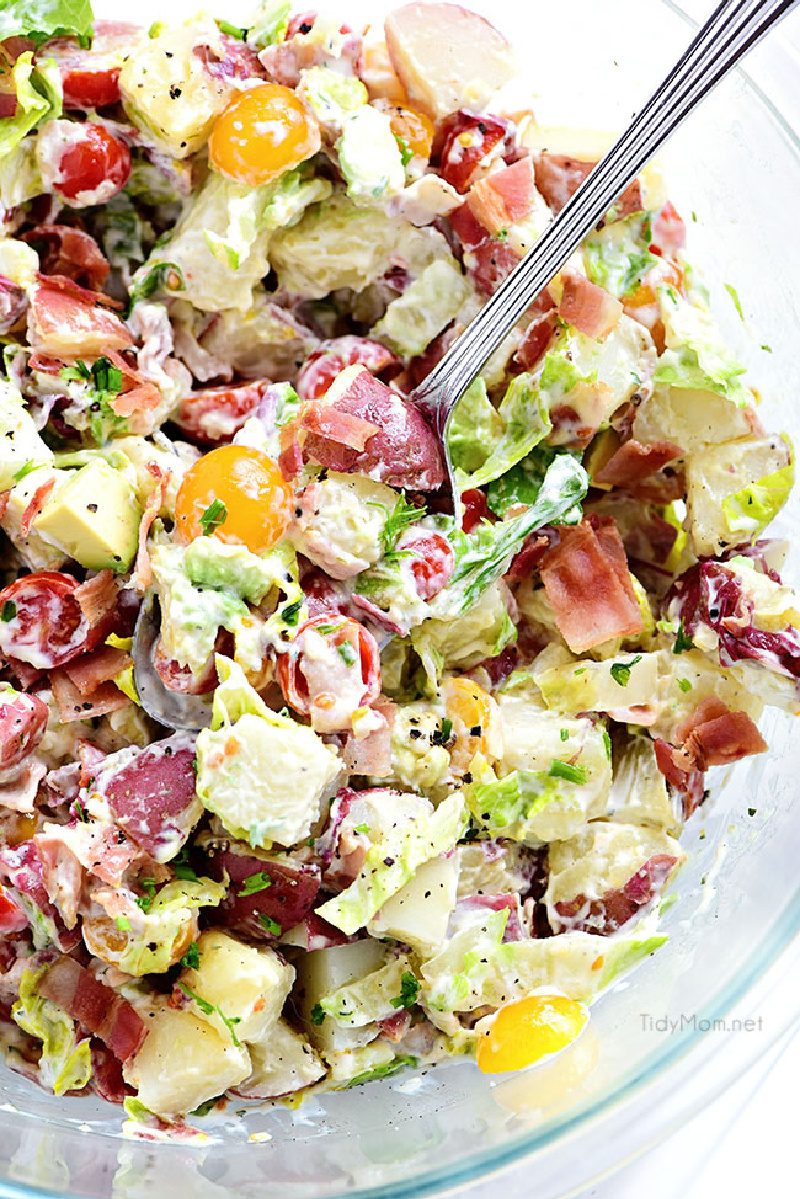 red potato salad in glass bowl
