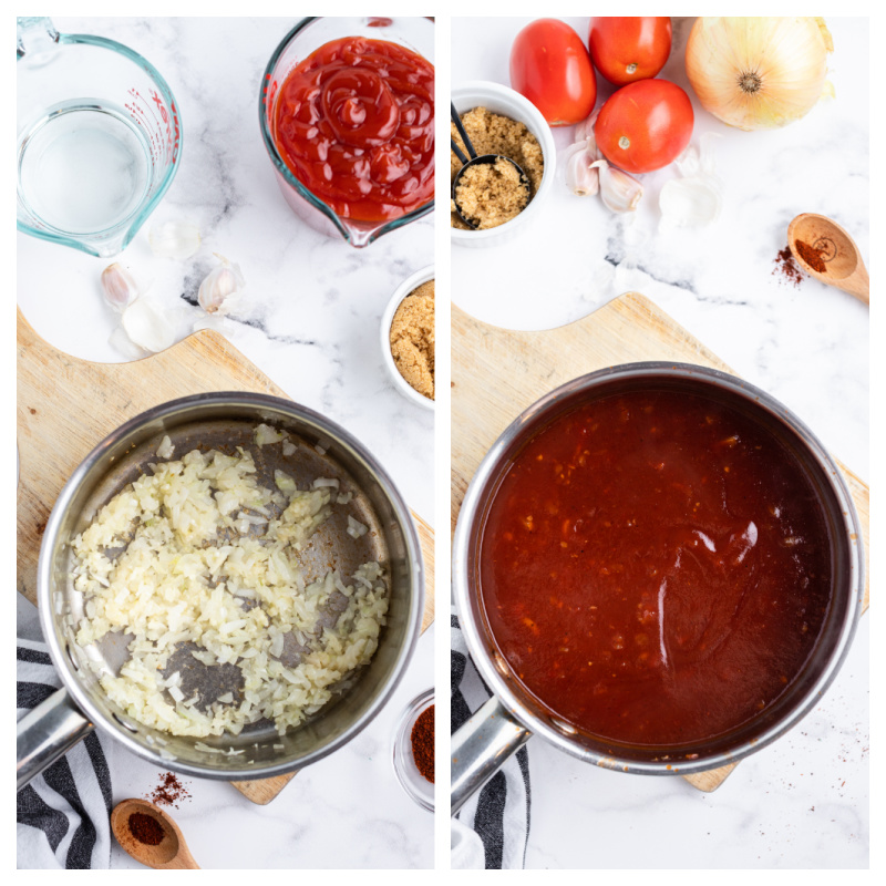 two photos showing process of making barbecue sauce in a saucepan