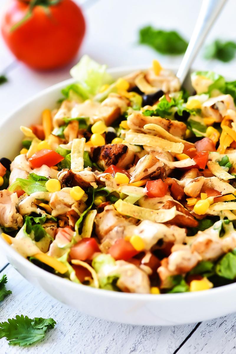 tex mex salad in white bowl