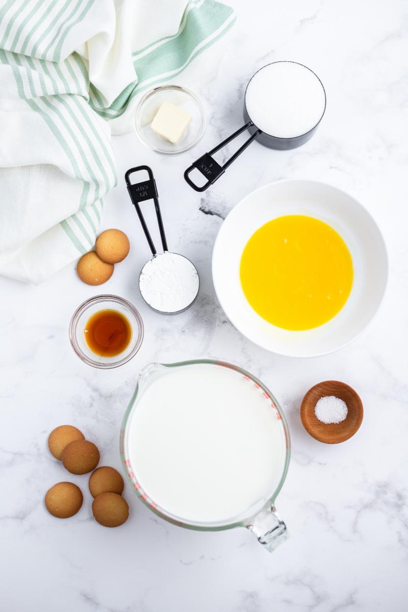 ingredients displayed for making vanilla pudding