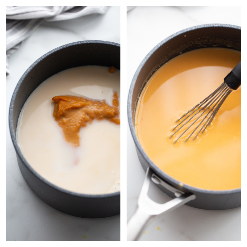 two photos showing the beginning of the process for making cheese sauce in a pan