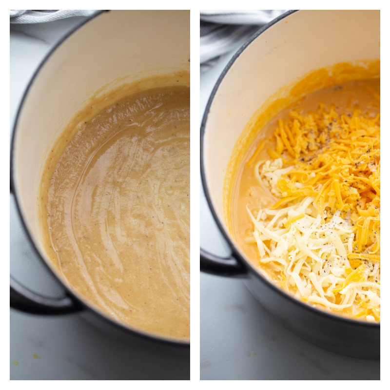 two photos showing making cheese sauce for mac and cheese