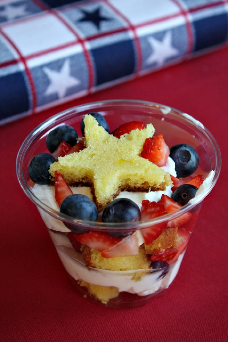 red white and blue mini trifles with star of pound cake on top