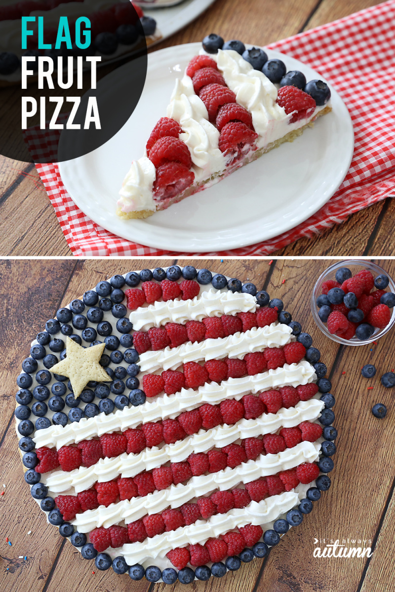 american flag fruit pizza and another photo of one slice