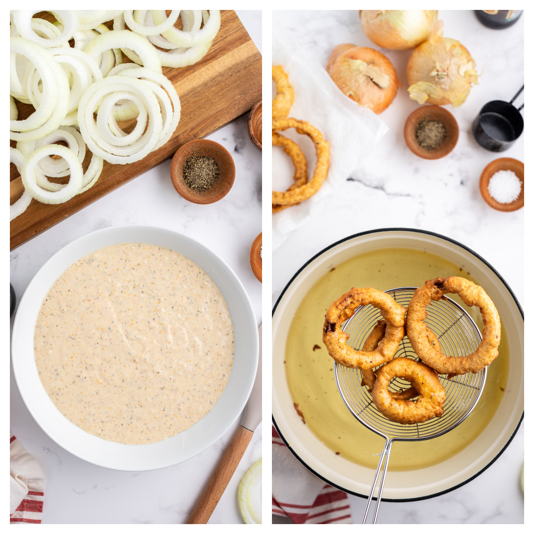 beer batter in a bowl and then onion rings frying in a pot