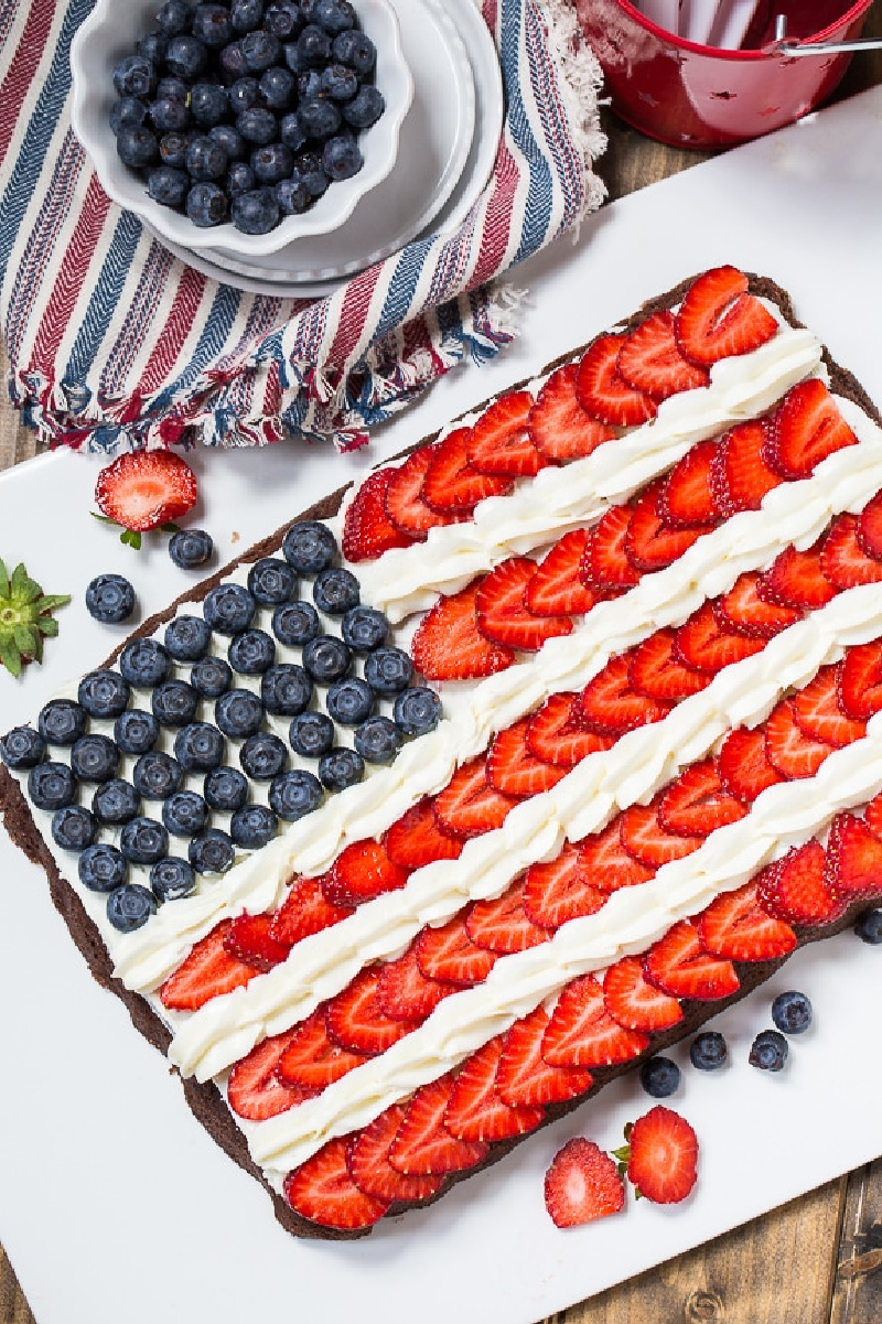 giant brownie decorated as American flag