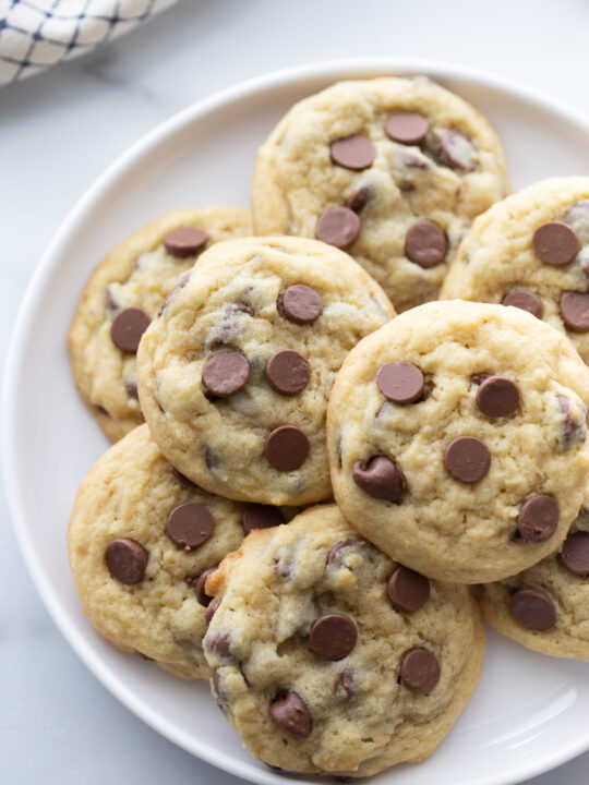chocolate chip pudding cookies on a white platter