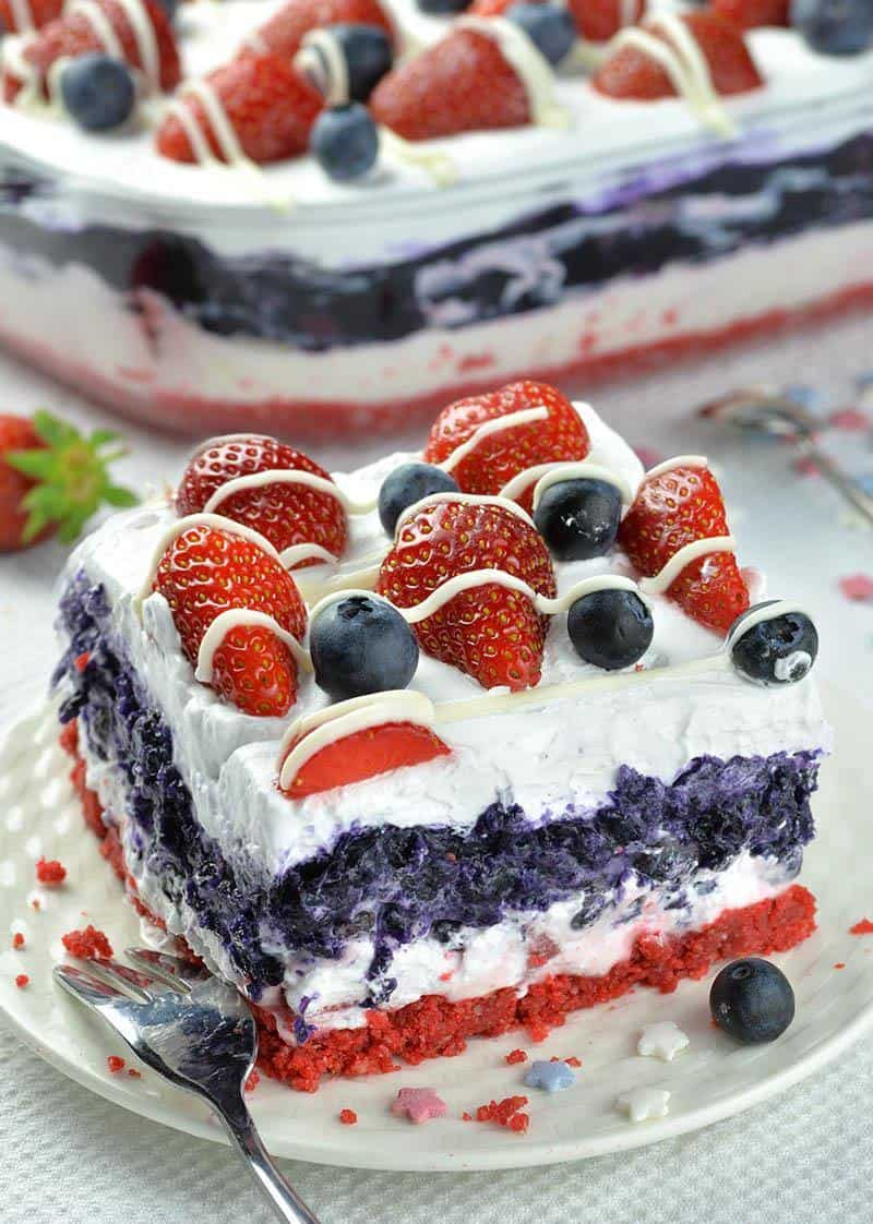 slice of red white and blue dessert lasagna