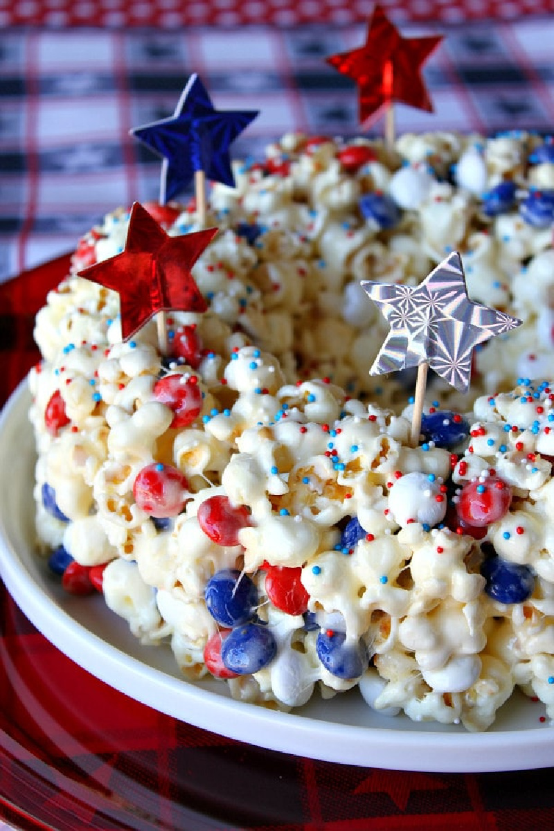 red white and blue popcorn cake