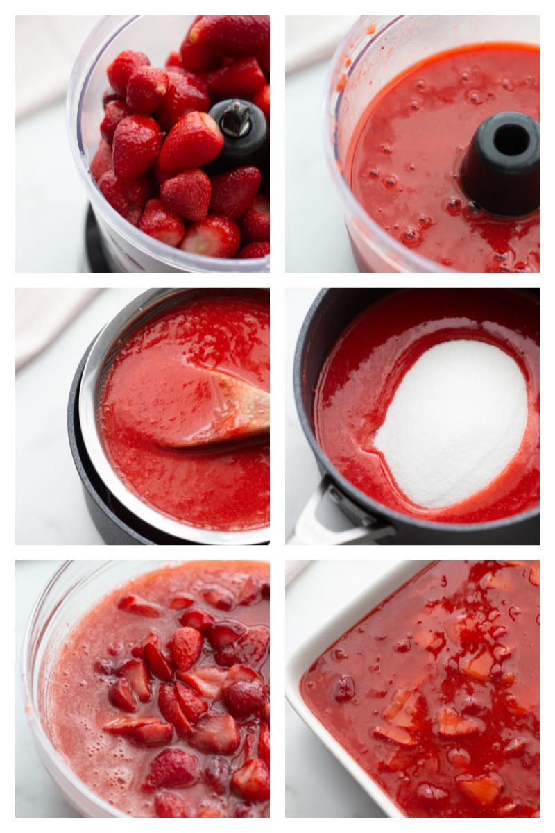 six photos showing process of creating strawberry gelatin sauce for top of strawberry pretzel salad